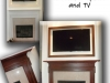 Faux woodgrain fireplace mantle and TV screen