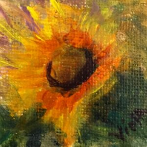 2x2 Sunflower Painting by Debbie Viola