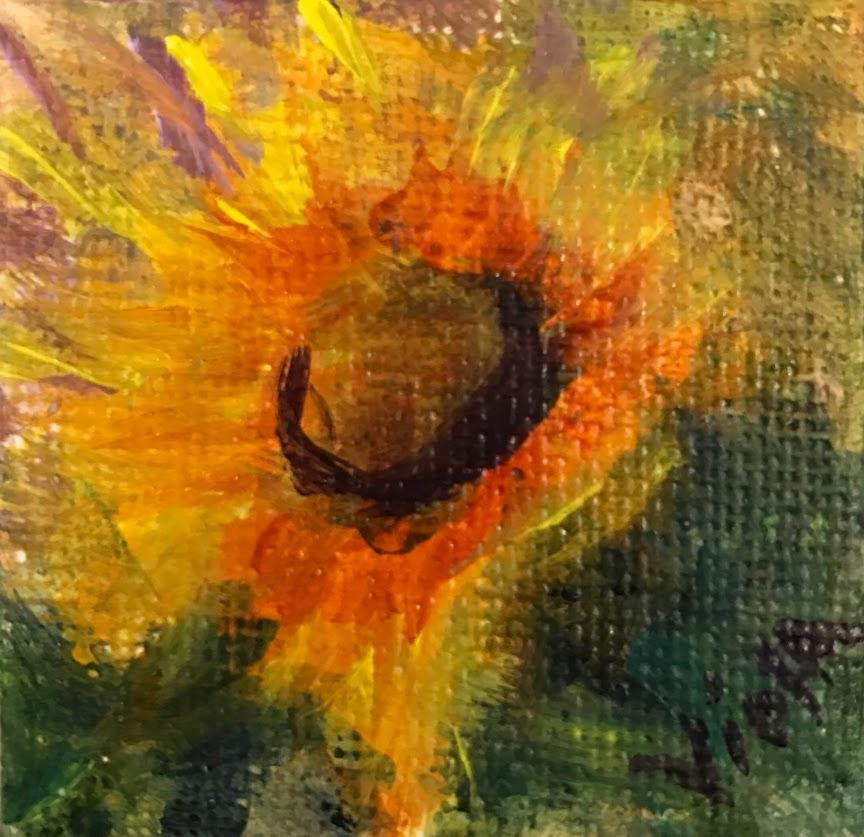 2x2 Sunflower Painting by Debbie Viola