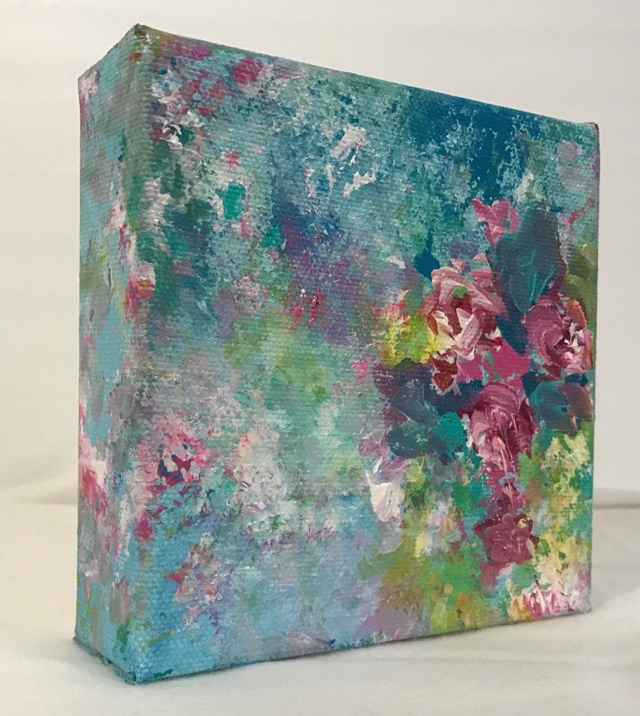 Mixed Media Square Turquoise Painting by Debbie Viola