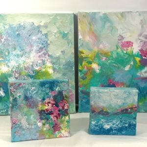 Aqua Turquoise Mixed Media Paintings