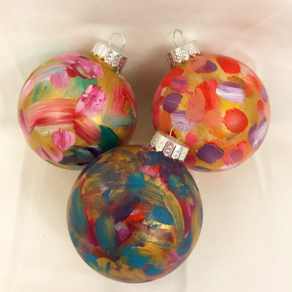 "Handpainted Round Glass Ornament ""Palette Balls"" by Debbie Viola"