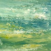 Lime Lovely 1, Abstract Seascape with lovely shades of aqua, turquoise, lime, Pantone greenery