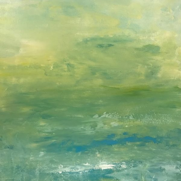 LIME LOVELY 2 18X24 ABSTRACT SEASCAPE PAINTING BY DEBBIE VIOLA #56