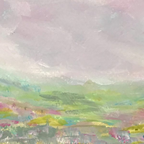 DAY 6, AQUA HILL, ABSTRACT LANDSCAPE PAINTING