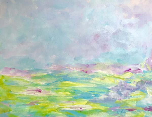 Teal and lavender skies make this a cheerful little piece of art. Ready to frame