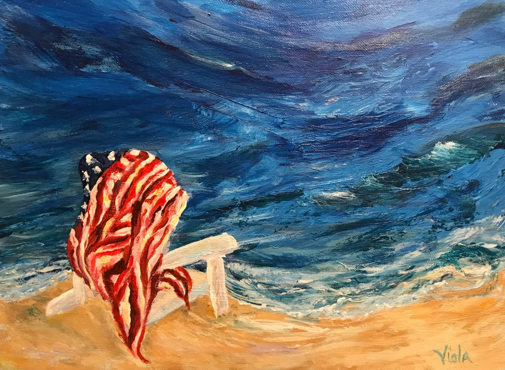 The Empty Chair, painting by Debbie Viola to honor all victims of terror attacks