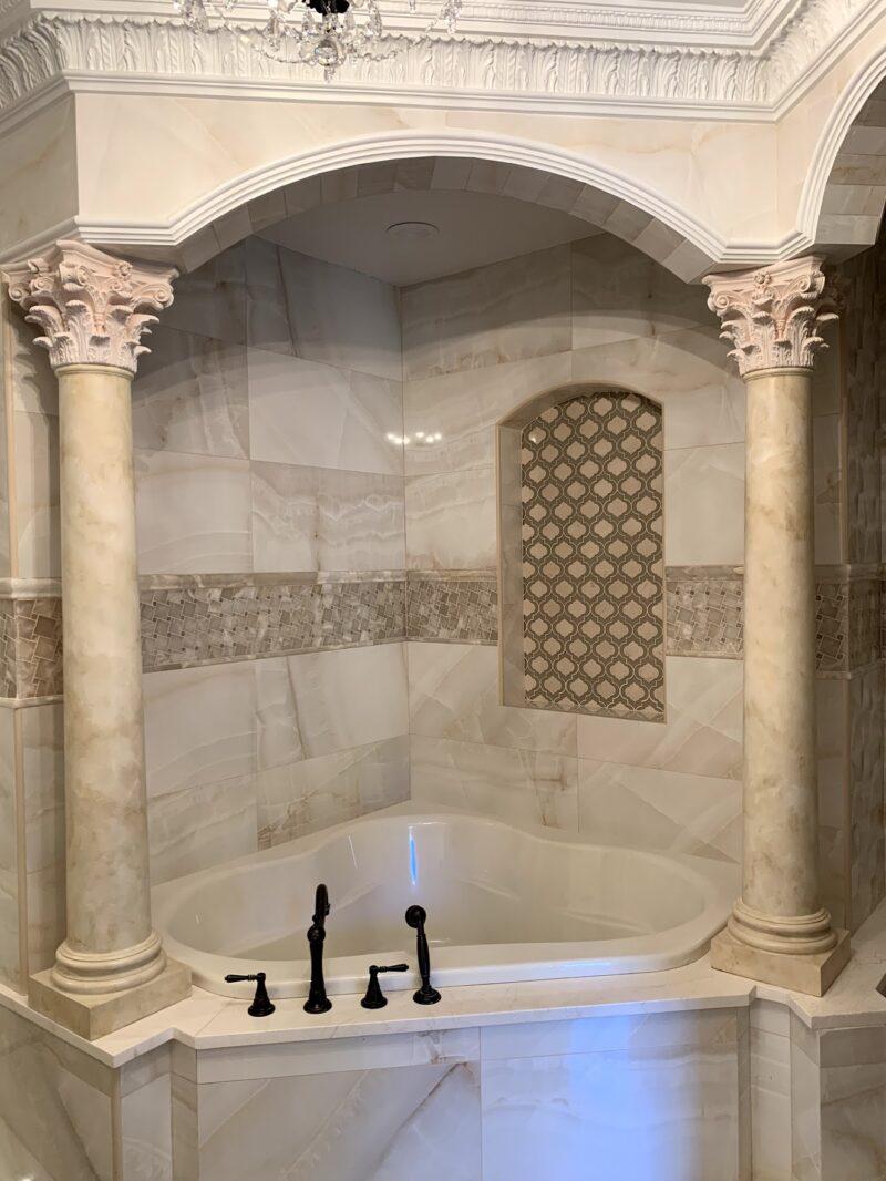 eclectic project - columns - faux mabre by debbie viola