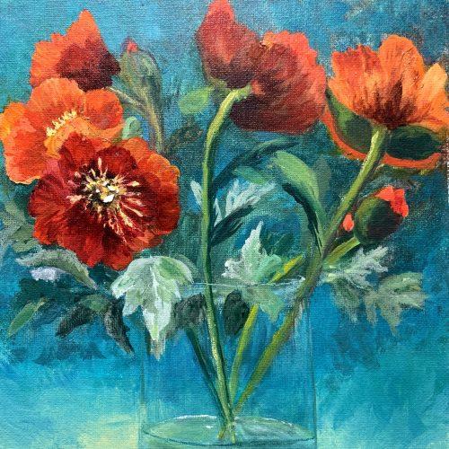 ART - STILL LIFE GLASS VASE FLOWERS BY DEBBIE VIOLA