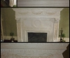 Plaster fireplace accented with soft glaze