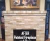 Handpainted brick fireplace