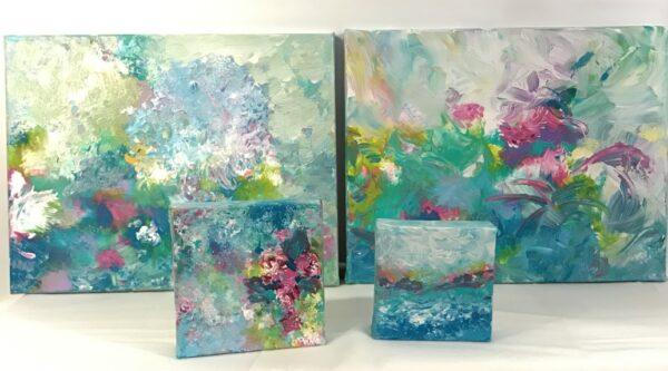 Aqua Turquoise Mixed Media Paintings