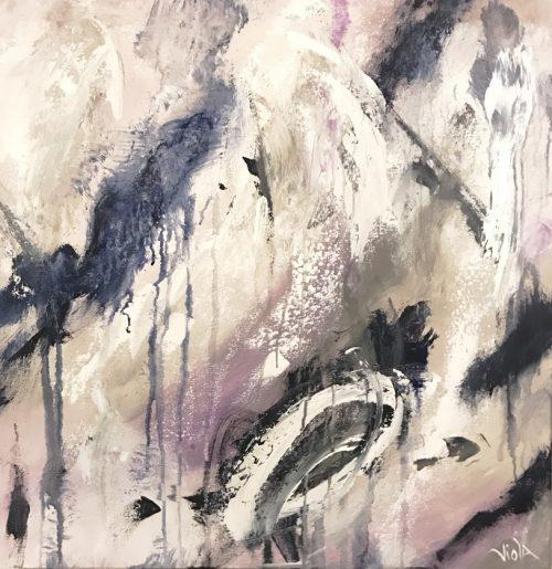 Navy Splash 24 x 24 Abstract Art by Debbie Viola