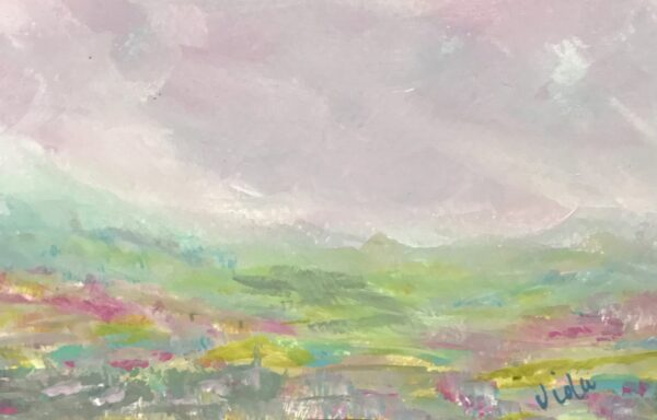 Abstract Landscape Painting with aqua hills