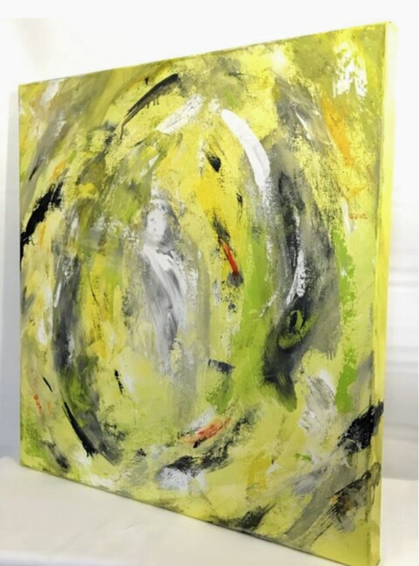 ART - 24X24 LIME YELLOW ABSTRACT ART BY DEBBIE VIOLA