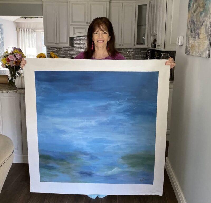 ART - 40 x 40 Abstract seascape for Sandra Asdourian by Debbie Viola