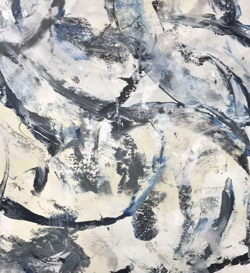 ART - 40X40 BLACK GRAY BLUE ABSTRACT BY DEBBIE VIOLA FOR JACKIE KLEPPER
