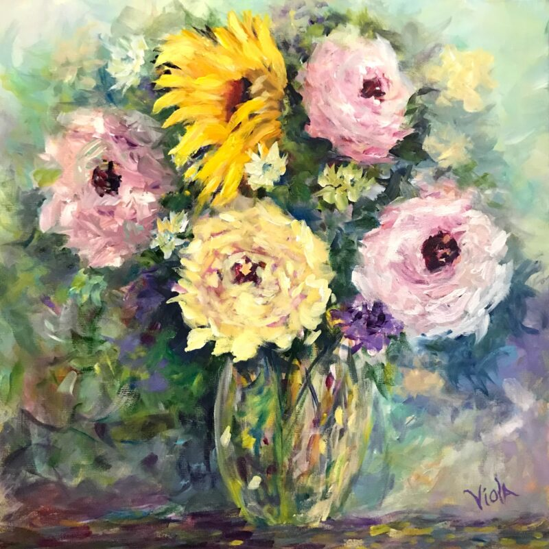 ART - ABSTRACT ROSES AND SUNFLOWERS IMPRESSIONISTIC BY DEBBIE VIOLA