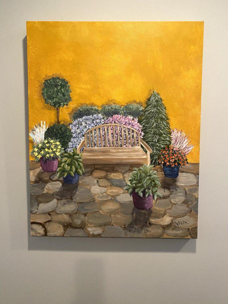 ART - COMMISSION - GARDEN BENCH BY DEBBIE VIOLA