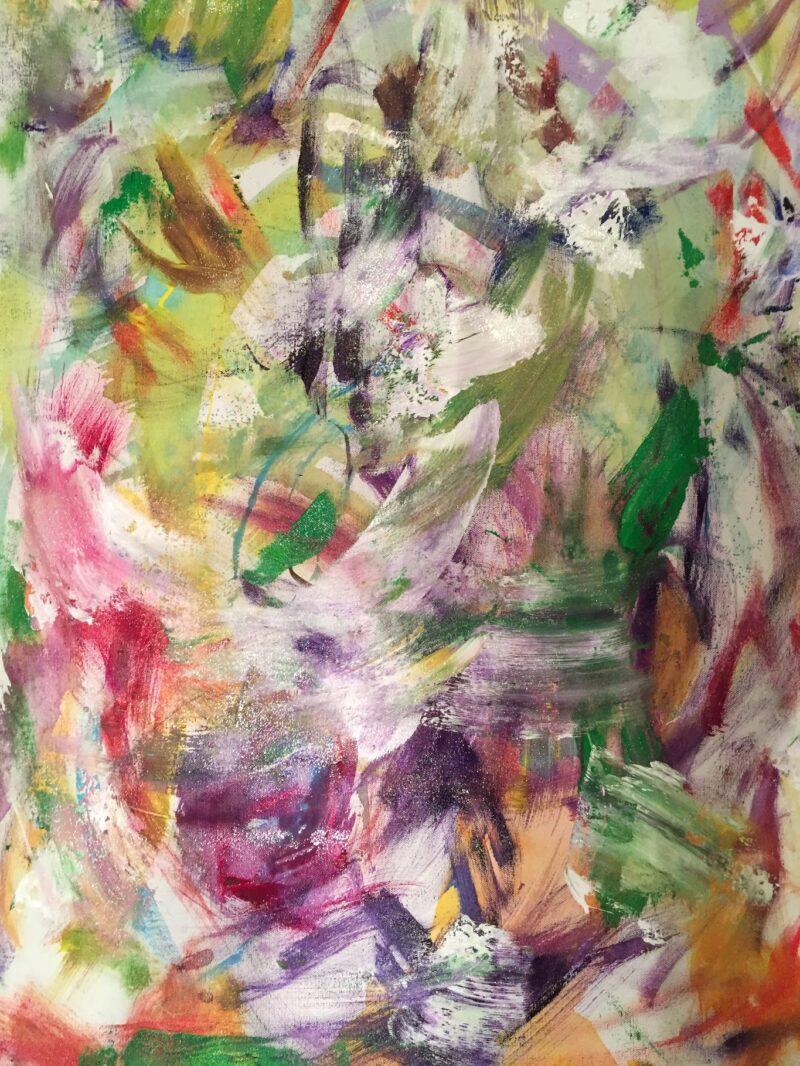 ART - PURPLE GREEN YELLOW ABSTRACT ART BY DEBBIE VIOLA