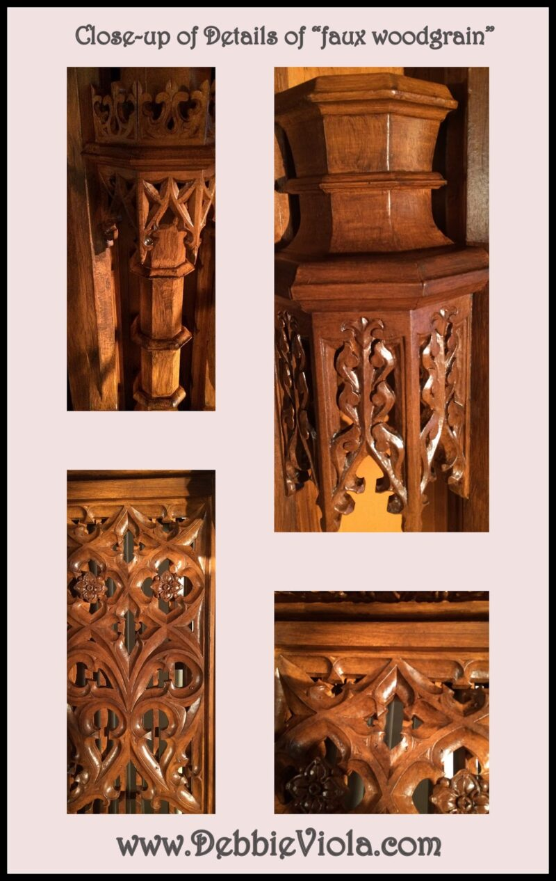 eclectic project - saint agnes cathedral finished closeup woodgrain by debbie viola